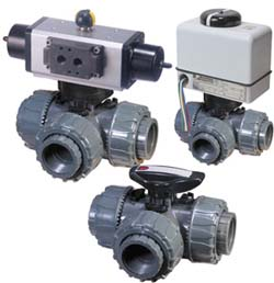 PVC 3-way ball valves