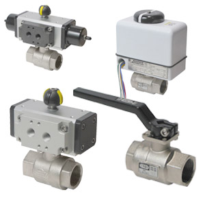 2-Way Nickel Plated Brass Full Port Ball Valves, Pneumatc, Electric, and Manual Actuated