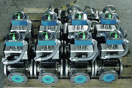 Custom 3-Way Ball Valve with Limit Switch