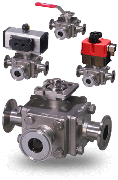 Manual and Actuated 3-way sanitary ball Valves