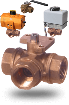 actuated Brass 3 way Ball Valves
