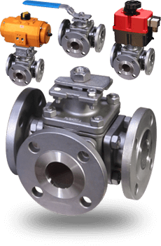 actuated Flanged 3 way Ball Valves