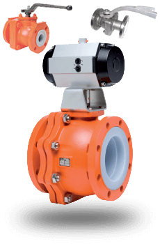 actuated Teflon Lined Ball Valves