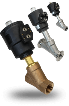 actuated angle seat valves