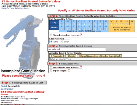 ST Butterfly Valve Configurator Page