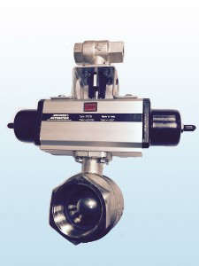 Space saving full port ball valves with pneumatic actuator