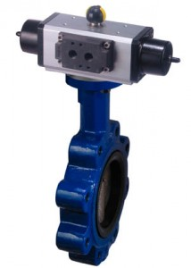 Resilient seat butterfly valve with pneumatic actuator
