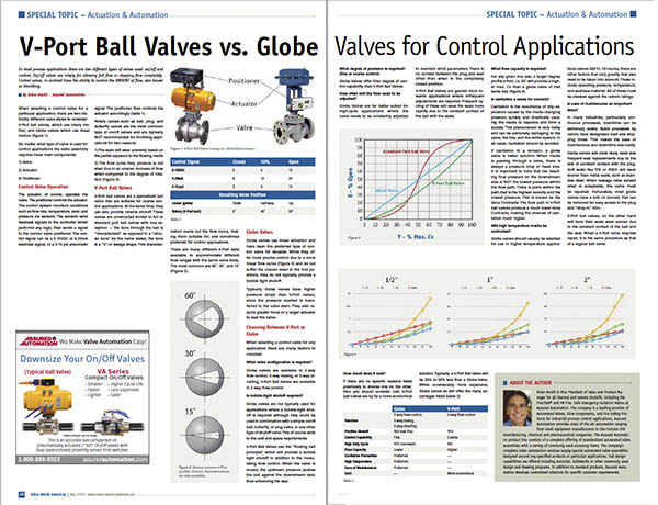 V-Port Ball Valve (rotary) vs. Globe Valve (linear)