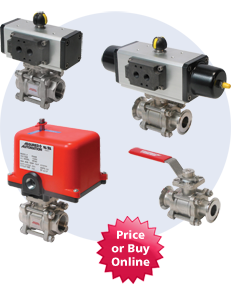 36 Series 3 Piece 2-Way Actuated Ball Valves