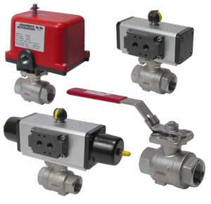 certified oxygen cleaned stainless steel actuated ball valves